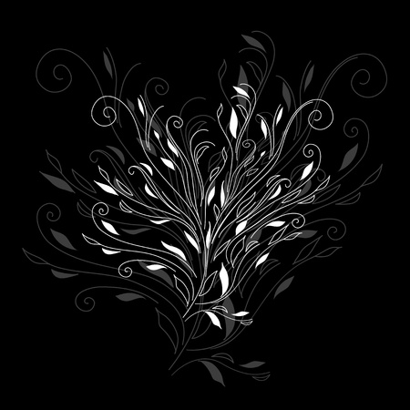 Retro black floral on white background for card hand drawing