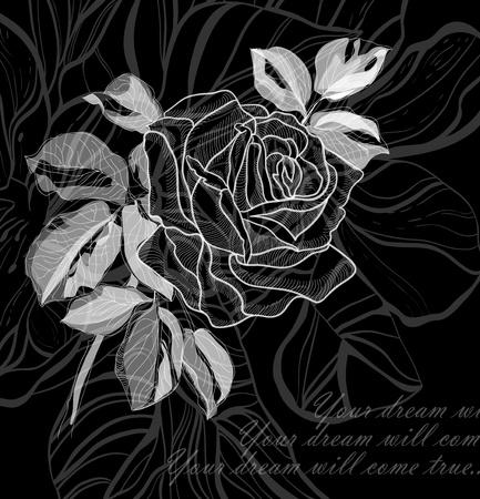 single line: Hand drawing rose card