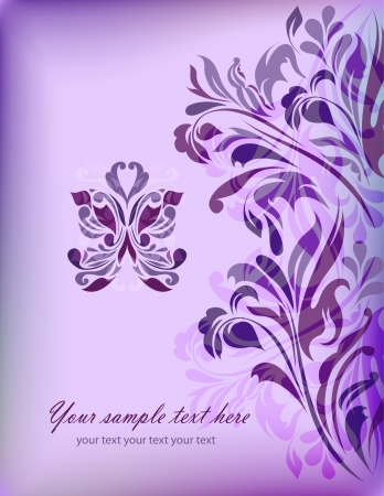 Abstract blue floral background with your text for your card