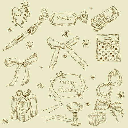 girls with bows: Vintage set of element for design