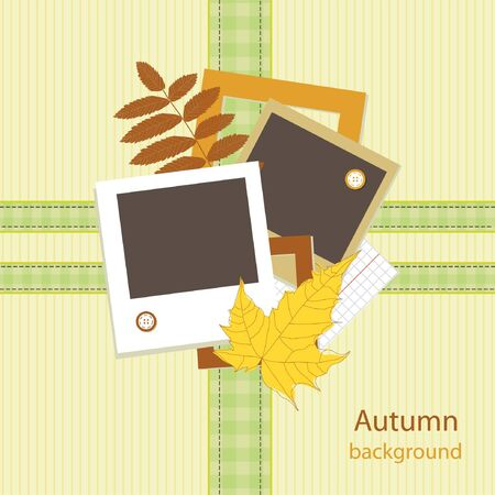 Autumn card scrapbooking with your text  Vector