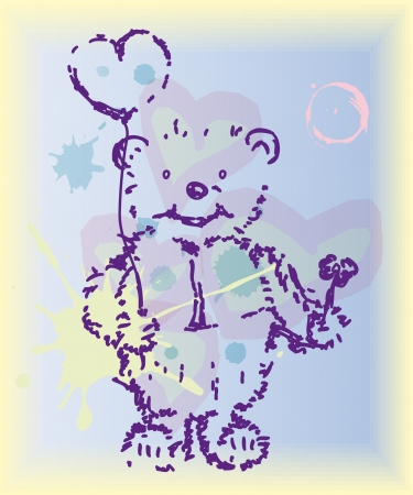 Beautiful card for Valentine day with dream bear  vector eps 10   Vector