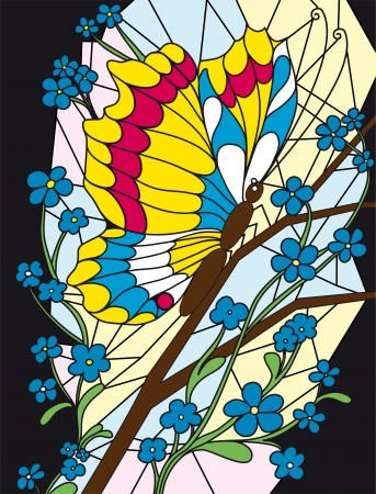Flower and butterfly stained-glass vector eps 8 background  Vector