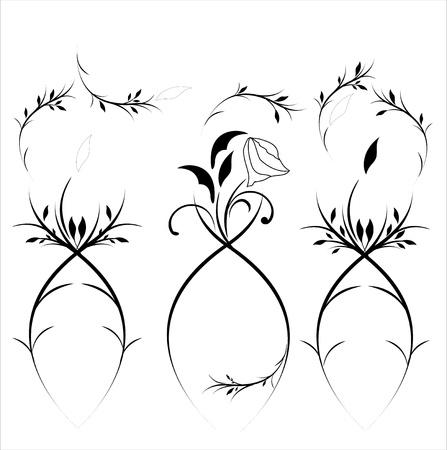 Vintage flower set (vector eps 8) Vector