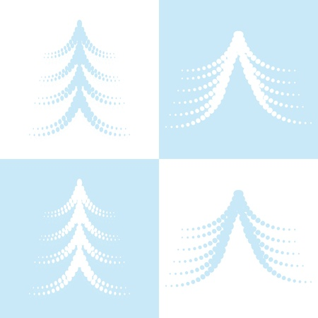 four christmas trees on white and blue background (vector version eps 8).  Vector