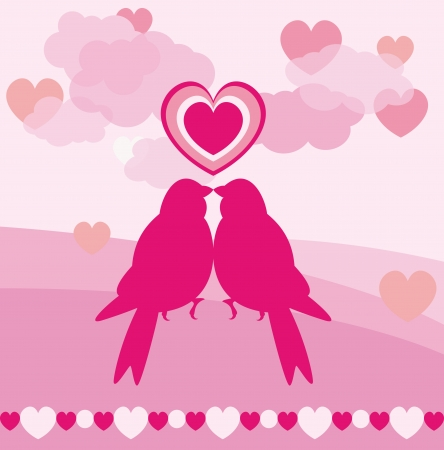 Love card of romantic birds for valentine day Stock Vector - 14298428