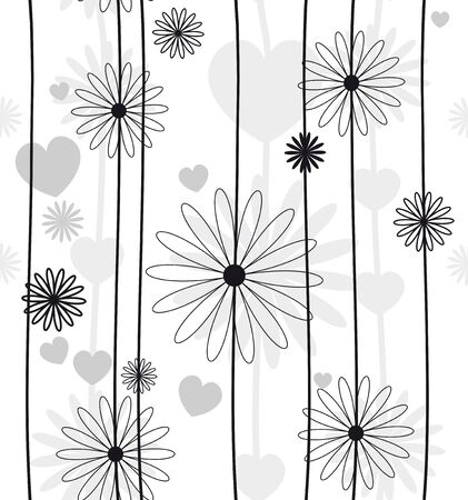 wallpaper rings: Beautiful flower seamless black and white Illustration