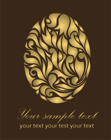 waive: Vintage gold egg isolated on brown background with your text  Illustration