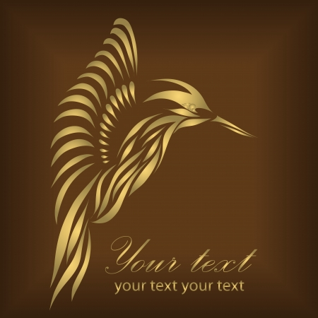 Vintage gold hummingbird isolated on brown background Vector