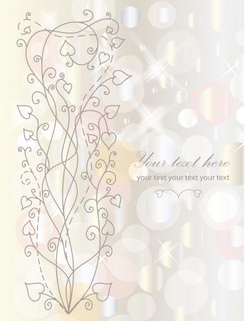 hojas parra: Fondo retro de flores para el día de San Valentín con su texto Vectores