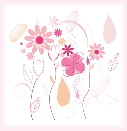 Flowers isolated on white background with frame Stock Vector - 14298505