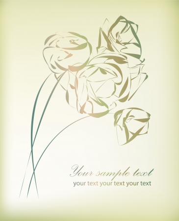 Retro floral background for valentine day with your text    Vector