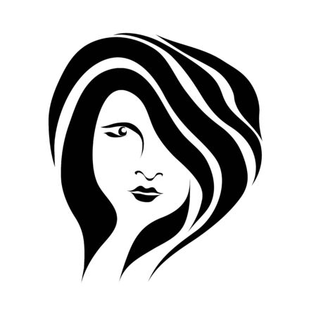 Free hand drawing abstract face of beautiful romantic girl isolated on white background Vector