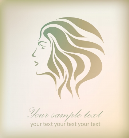 フリーハンドの図面、テキストと背景の分離された美しいロマンチックな少女の抽象的な顔