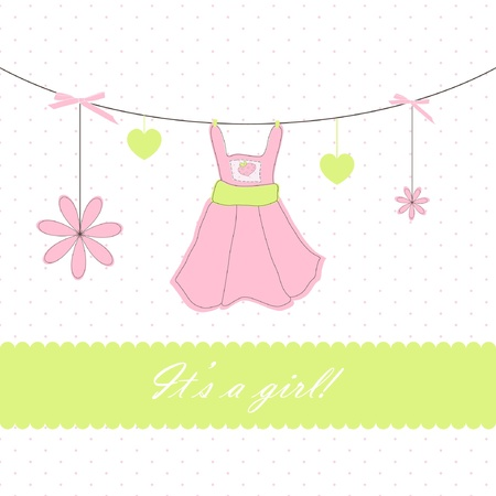 green dress: Baby beautiful girl card with your text for invitation, greeting, birthday, label, postcard, frame, gift and etc