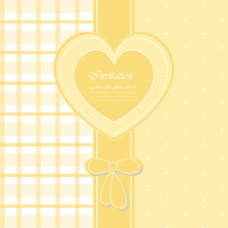 Baby beautiful yellow invitation card with your text for invitation, greeting, birthday, label, frame, congratulations, design, postcard, gift and etc Vector