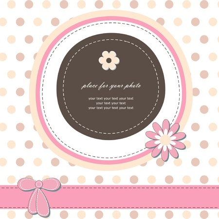 Romantic girl scrapbooking version Baby card for invitation, greeting, birthday, label, postcard, congratulation, frame, gift and etc   Vector