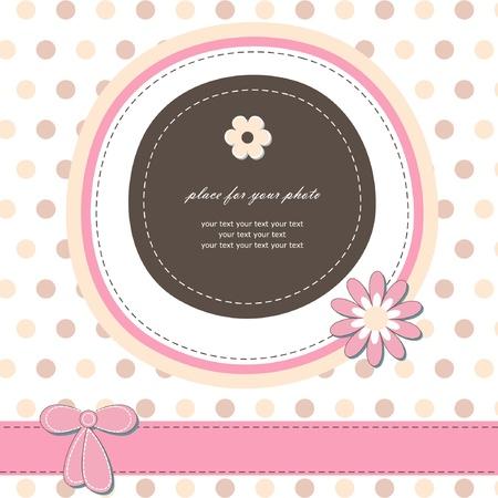Romantische meisje scrapbooking versie baby-kaart voor uitnodiging, wenskaarten, verjaardag, etiketten, briefkaarten, felicitatie, frame, cadeau-en etc Stockfoto - 14327267