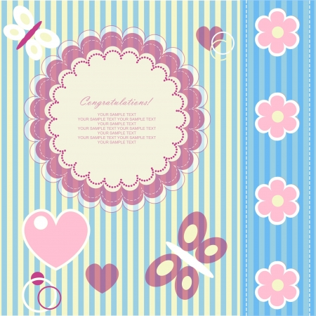 welcome baby: Romantic scrapbooking. Baby beautiful girl card with your text for invitation, greeting, frame, birthday, label, postcard, congratulate, frame, gift and etc.  Illustration
