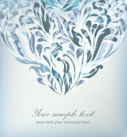 ornate heart: Abstract blue floral background with your text for your card, invitation, wedding, illustration, wallpaper, postcard, greeting  Illustration