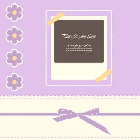 Baby beautiful girl card with your text for invitation, greeting, birthday, label, postcard, frame, gift and etc  Illustration
