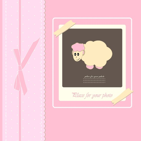 Baby beautiful girl card with your text for invitation, greeting, birthday, label, postcard, frame, gift and etc Vector