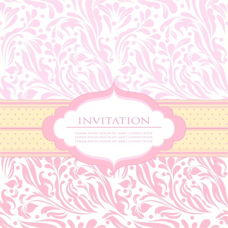 baby girl background: Beautiful baby invitation card background with your text  Illustration