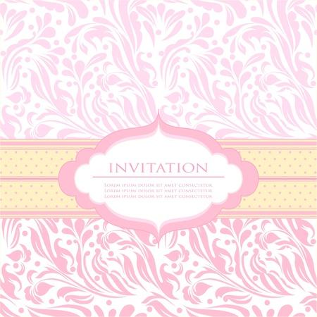 lazo rosa: Tarjeta de invitaci�n hermosa beb� de fondo con el texto