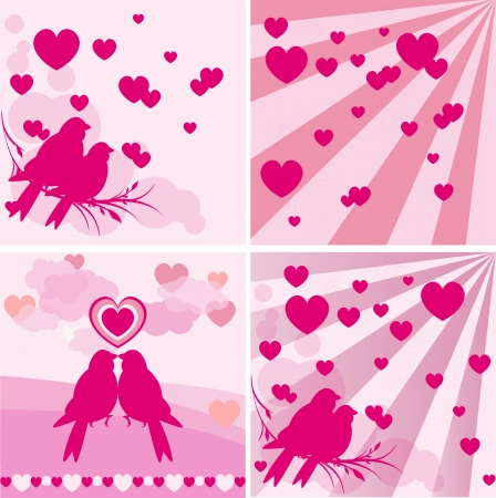 Set of four love seamless  Vector