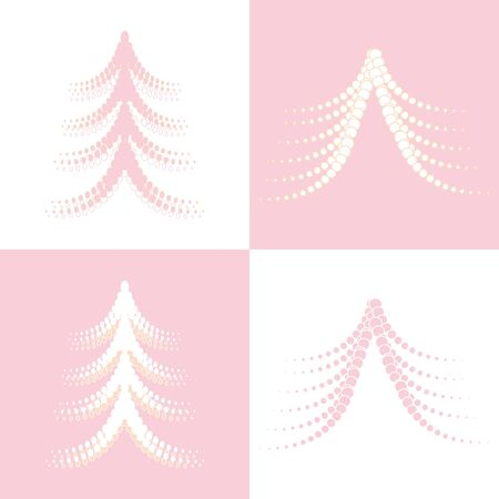 Seamless of four Christmas trees on white and pink background  Vector