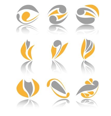office products: Conjunto de nueve diferentes signos abstractos de dise�o del logotipo sobre fondo blanco