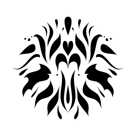 flair: Black flower isolated on white background as web, icon, sign, brochure, banner, emblem, label, symbol, tattoo  Illustration