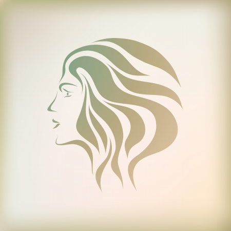 Free hand drawing abstract face of beautiful romantic girl isolated on background. Vector