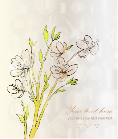 Hand drawing rose card  Stock Vector - 14488514