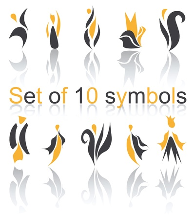 Set of 10 different abstract elements for design for logo (vector version eps 10)  Vector