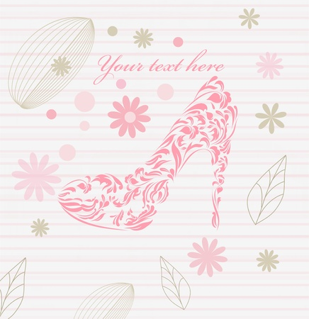 Vintage card of perfect shoes isolated on beautiful background with your text. Perfect for sign, symbol, icon, web, emblem, label.  Vector