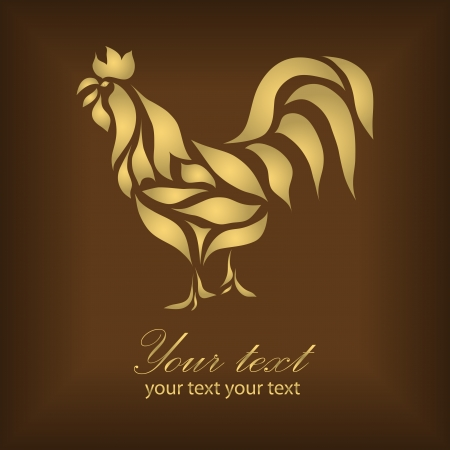 Vintage gold rooster isolated on red background (vector version eps 10). Great for signs, logos, web, logotype.