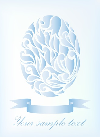 waive: Vintage blue vector egg isolated on background with your text (eps 10)  Illustration