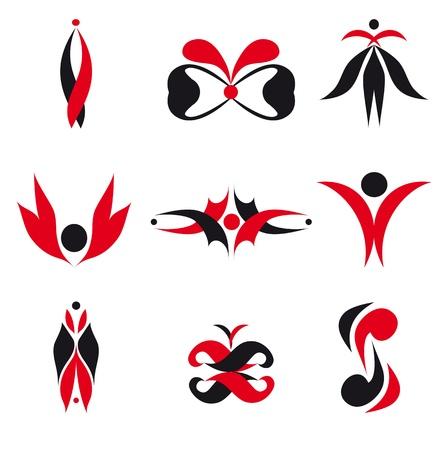 elements for logo: Set of different abstract elements for design for logo (vector version eps 8)  Illustration