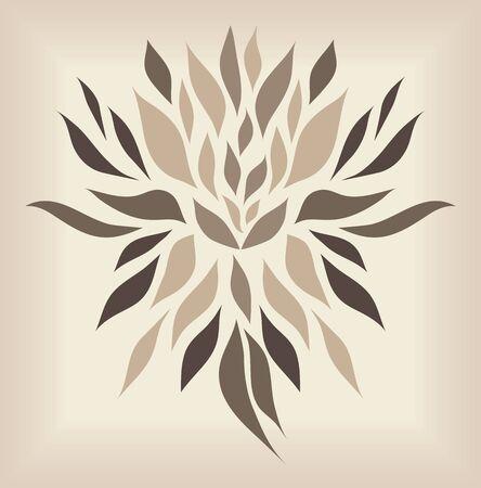 flair: Vintage brown symbol isolated on beige background  raster version