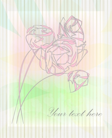 clip art draw: Hand drawing rose card   Illustration