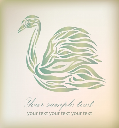 Vintage swan isolated on background  Vector