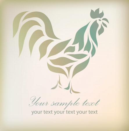 chicken: Vintage floral rooster isolated on beautiful background. Great for signs, symbol, element design, emblem, label, tattoo, web