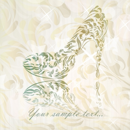 Vintage card of perfect shoes isolated on beautiful background  Vector