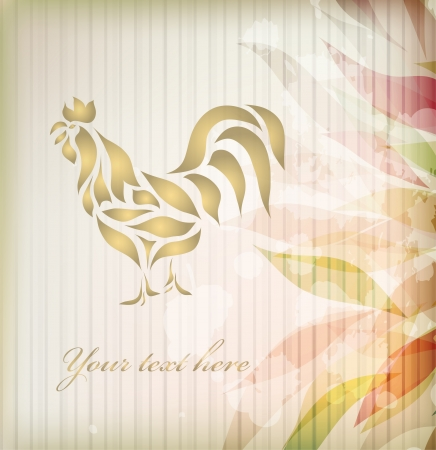 waive: Vintage floral rooster isolated on beautiful background  Illustration