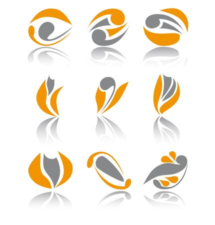 Set of nine orange different abstract signs Vector