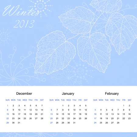 Winter season calendar page of new 2013 year Stock Vector - 14875847