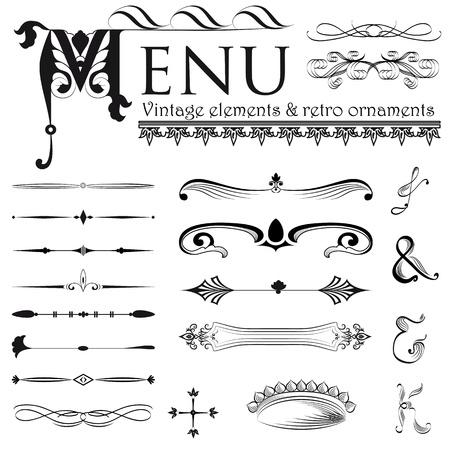 Conjunto de elementos de diseño retro