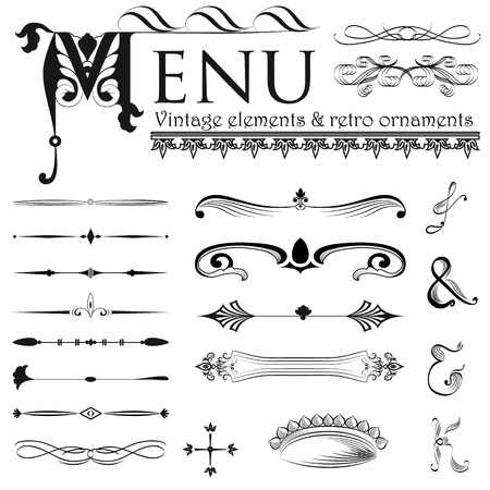 Set of retro design elements  Stock Vector - 14875844