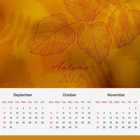 Autumn season calendar page of new 2013 year  Vector
